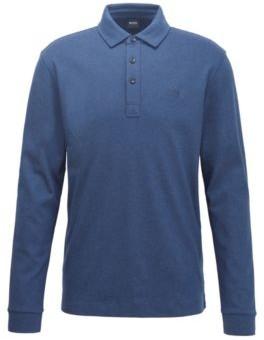BOSS Long-sleeved polo shirt in interlock cotton