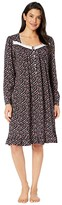 Eileen West Cotton Peached Jersey Knit Long Sleeve Short Nightgown (Black Ground/Multi Buds and Berries) Women's Pajama
