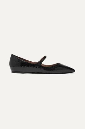 Tabitha Simmons Hermione Glossed Snake-effect Leather Point-toe Flats - Black