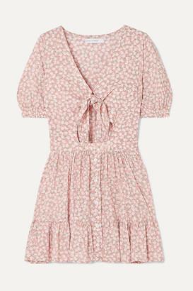 Faithfull The Brand Marigot Tie-front Cutout Floral-print Crepe Mini Dress - Blush