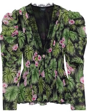 Giambattista Valli Lace-trimmed Floral-print Silk-georgette Peplum Blouse