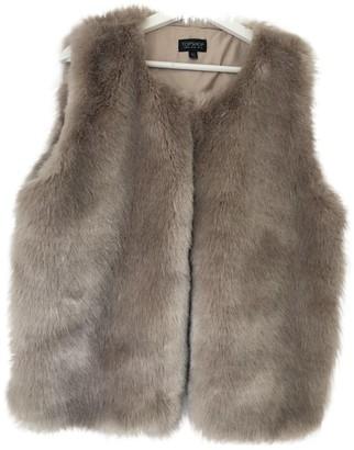 Topshop Tophop Beige Faux fur Coat for Women
