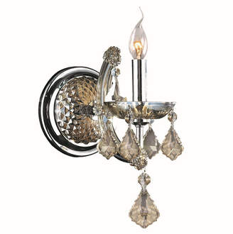 Theresa Worldwide Lighting Maria 1-Light Chrome Finish and Crystal Candle Wall Sconce Light