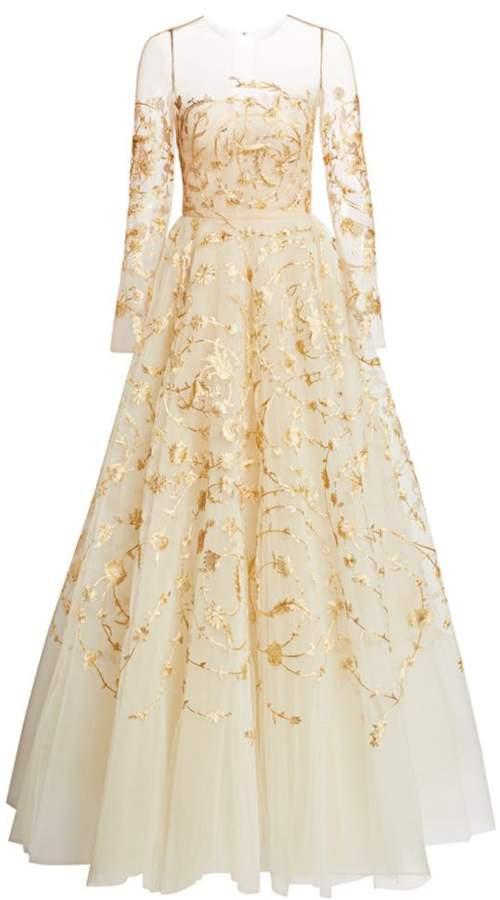 Oscar de la Renta Goldtone Embroidered Illusion Tulle Gown