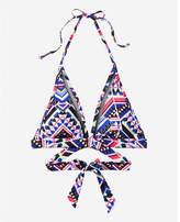 Express printed mesh inset wrap halter bikini swim top