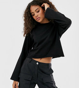 Asos Tall DESIGN Tall boxy crop t-shirt with overlock in black