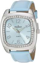 Peugeot Women's 3010BL Silver-Tone Canvas Ribbon Strap Watch