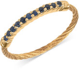 Charriol Women's Laetitia Blue Sapphire Accent Gold-Tone PVD Stainless Steel Cable Ring