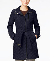 Cole Haan Faux-Leather Trim Belted Quilted Coat
