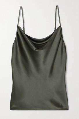 L'Agence Kay Draped Silk-satin Camisole - Army green
