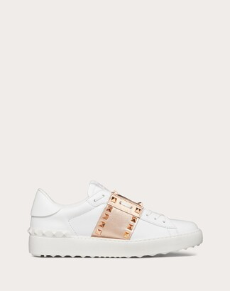 Valentino Rockstud Untitled Sneaker In Calfskin Leather With Metallic Stripe Women White/copper 100% Pelle Di Vitello - Bos Taurus 35