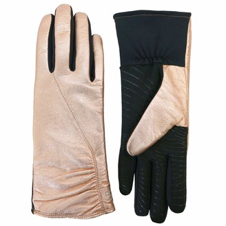 U R Powered Womens Gathered Leather & Stretch Touchscreen Gloves