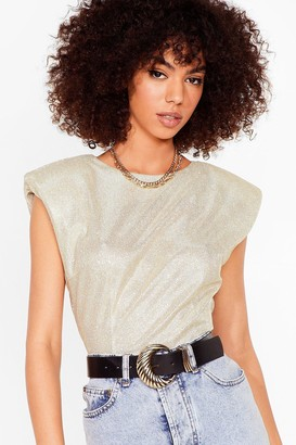 Nasty Gal Womens Spark Their Interest Shoulder Padded Glitter Top - Gold