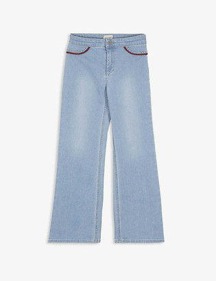 Gucci Web-print wide-leg denim trousers 6-12 years