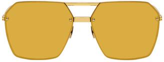 Bottega Veneta Gold Mirrored Aviator Sunglasses