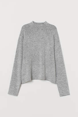 H&M Stand-up-collar Top - Gray