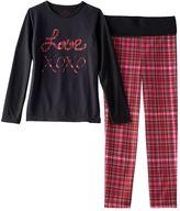 """Girls 4-12 Chloe & Olivia Plaid """"Love"""" Pajama Set"""