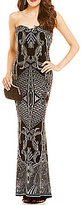 Jump Glitter-Accented Patterned Slinky Strapless Long Dress