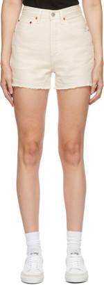 RE/DONE White Denim 50s Cut-Off Shorts
