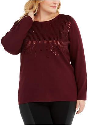 INC International Concepts Inc Plus Size Sequin Crewneck Sweater
