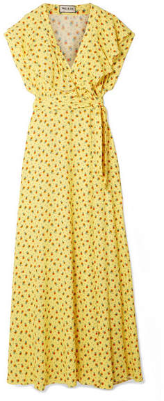 Paul & Joe Amalia Ruffled Floral-print Crepe Wrap Maxi Dress - Yellow