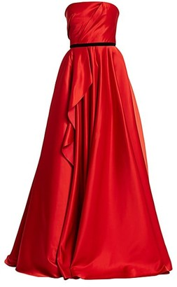 Marchesa Notte Strapless Satin Ruffle Ball Gown