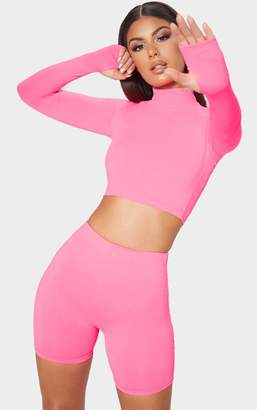 PrettyLittleThing Neon Pink Zip Up Crop Top