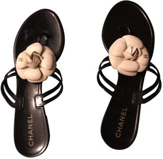 Chanel Black Rubber Sandals