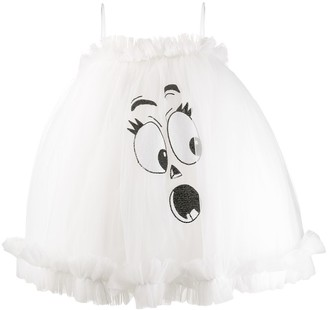 Moschino face motif puffy mini dress