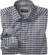 Johnston & Murphy Diagonal Twill Gingham Point-Collar Shirt