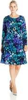 Amy Byer Women's Plus-Size Long Sleeve Floral Printed Dress, Multi/Blue