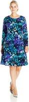 Amy Byer Women's Plus-Size Long Sleeve Floral Printed Dress, Multi/Blue