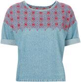 Current/Elliott embroidered denim top - women - Cotton - 0