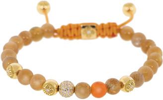 Shamballa Diamond and Orange Carnelian Bracelet