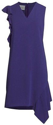 Akris Punto Sleeveless Ruffle Back Crepe Dress