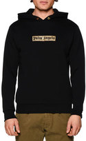 Palm Angels Sequin-Logo Hooded Sweatshirt, Black/Gold