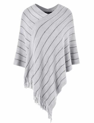 Ferand Women's Striped Poncho Sweater Cozy Warm Wrap Shawl in Multi-Way Neck Style One Size