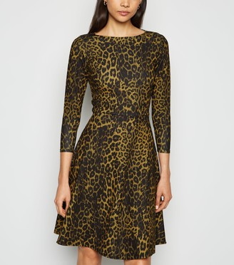 New Look Missfiga Leopard Print Skater Dress