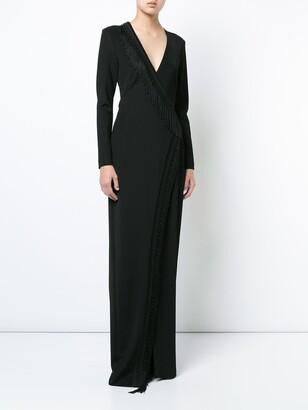 Galvan maxi fringe trimmed dress black