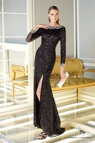 Alyce Paris - Sleek Bateau Sheath Long Evening Gown with Crystal Cuffed Long Sleeves and Side Slit 2295
