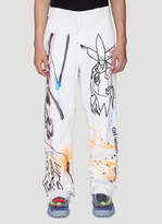 Off White Wide-Leg Printed Pants in White