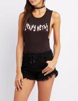 Charlotte Russe Heavy Metal Slashed Bodysuit