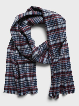 Banana Republic Houndstooth Plaid Wool Scarf