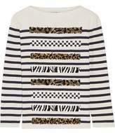 Marc Jacobs Embellished Striped Cotton And Cashmere-Blend Sweater