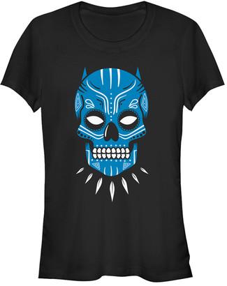 Fifth Sun Women's Tee Shirts BLACK - Black Panther Blue Sugar Skull Crewneck Tee - Women & Juniors