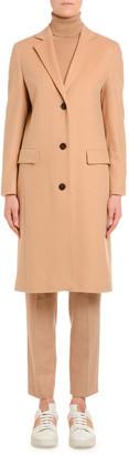 Agnona Cashmere Single-Breasted Slim Coat, Camel