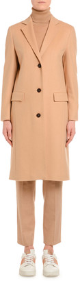 Agnona Cashmere Single-Breasted Slim Coat, Camel