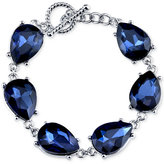 2028 Silver-Tone Blue Pear-Cut Crystal Link Bracelet