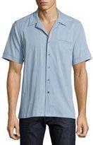 Ovadia & Sons Short-Sleeve Chambray Shirt, Light Blue