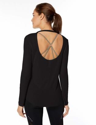 Core 10 Amazon Brand Women's Lightweight Sheer Rib Long-Sleeve Open Back